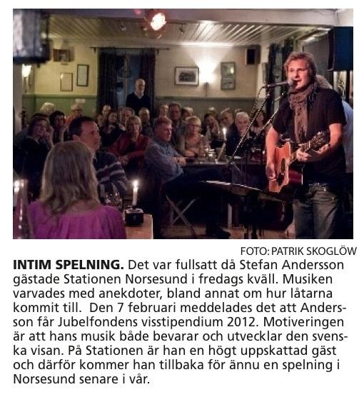 Stefan Andersson spelar på Stationen Norsesund (fr AT)